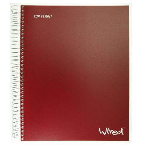 Assorted Colors Top Flight Wired 5-Subject Spiral Bound Notebook with 8 Pockets