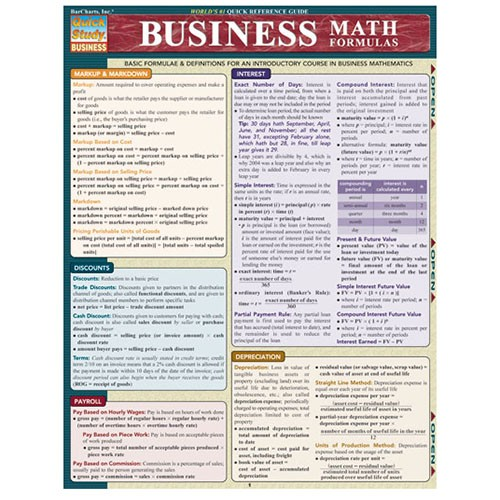 UMSL Triton Store - Business Math Formulas Quick Reference Guide