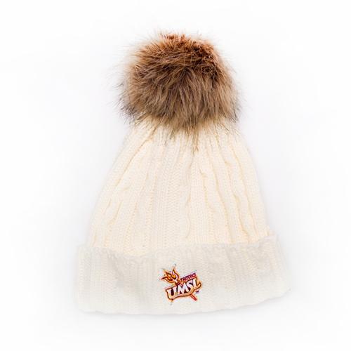 UMSL Triton Store - UMSL Tritons Cuffed Cream Beanie with Faux Fur Pom 4966878a37a