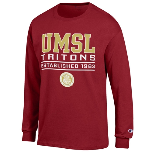 UMSL Tritons Official Seal Champion Red Crew Neck Shirt