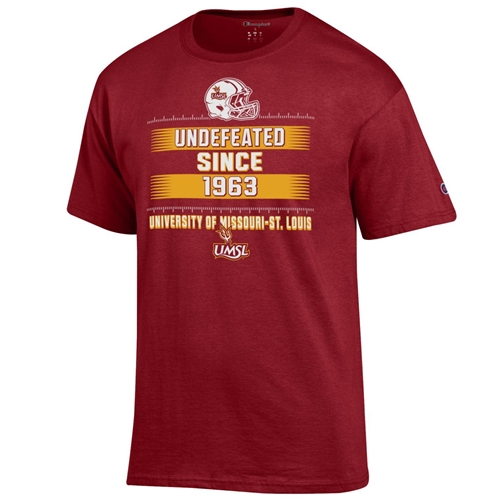 UMSL Football Undefeated Since 1963 Red Crew Neck T-Shirt