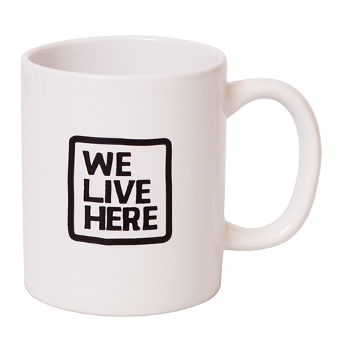 We live Here 11 oz. White Mug