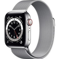 Apple Watch 6 GPS+Cellular 44mm Stainless Steel Case with Milanese Loop Band